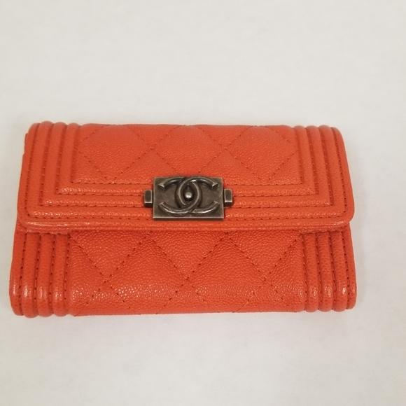 CHANEL Handbags - Chanel Boy O Card Card Holder in Orange